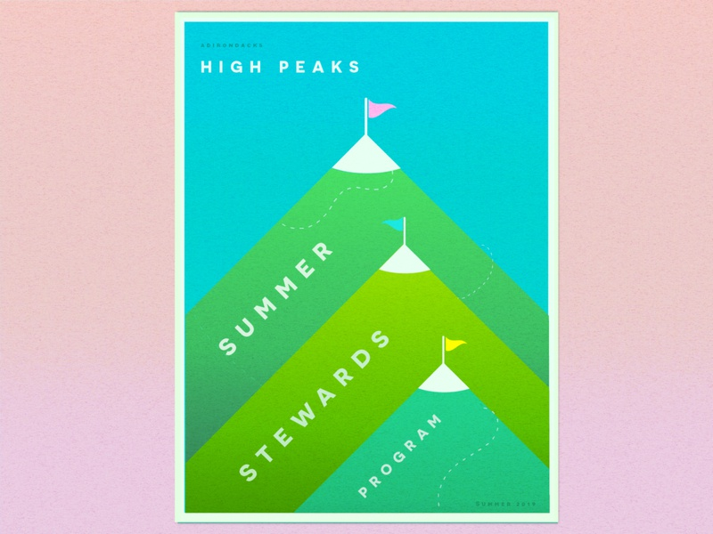 High Peaks Poster poster design poster art poster green mountains gradient texture geometric illustration