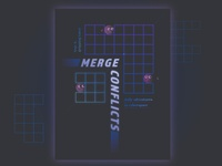 Merge conflicts! neon gradient computer internet cyberspace poster programming faces grid computing geometric illustration
