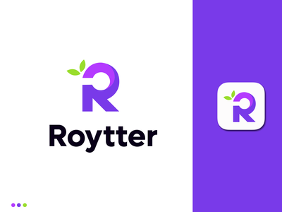 R Letter + Nature Logo Concept r monogram o p q r s t u v w x y z logodesign logotype app icon app letter logo r letter r logo leaf nature minimal design logo branding logo design