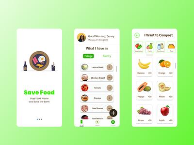 Save food from Food Waste vector ux ui design app