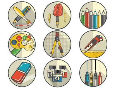 Designer tools icon pack volume 1 pencil pens design logo design icons design tools