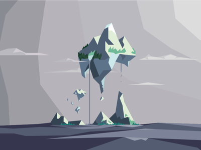Floating Islands low poly digital illustration waterfall flat vector island