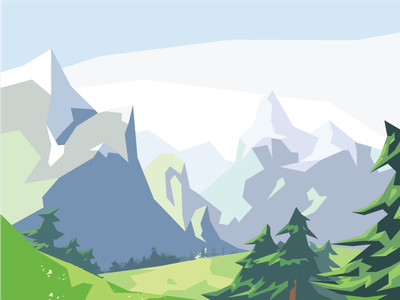 Mountain Series #10 low poly outdoors trees snow landscape nature illustration digital vector flat flowers mountains