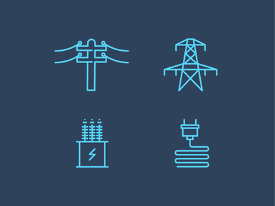 Electrical Icons 2 distribution substation transmission power blue iconography icon electrical