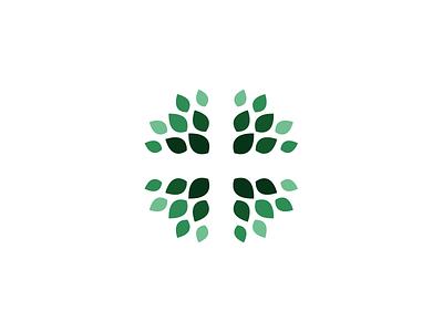 Church Logo circular tree leaves christian cross green mark identity brand logo church texas austin