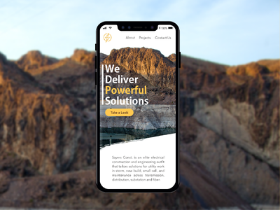 Sayers Website Concept interface design home page electrical power mountains mobile responsive website