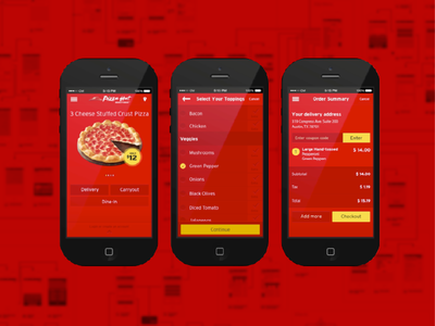 Pizza Hut Mobile App ux design user experience food red ios wireframes pizza ordering app mobile pizza hut