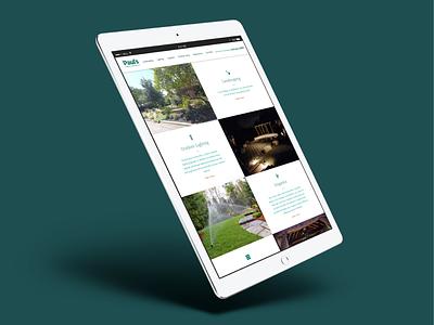 Pauls Lawn & Landscape Tablet flat scroll green outdoor landscaping home page navigation branding website minimal clean tablet responsive