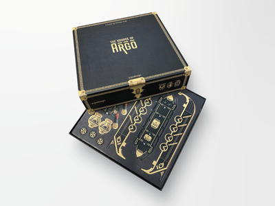 The Voyage of Argo Tabletop Game art design visual design print physical black gold seafaring greek trireme argonauts nautical game tabletop tabletop game board game punchcards treasure chest argo vector