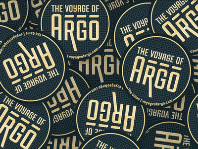 The Voyage of Argo Stickers design typography logo game gold black argo marketing print physical board game tabletop game vector there be dragons the voyage of argo sticker stickers