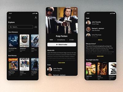 Movie app flatdesign design app uidesign film cinema clean design minimal app dark theme darkmode dark uiux ui mobile design mobile app ios mobile movies movie
