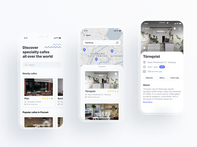 Specialty cafes finder minimalistic white world search flat cafes cafe specialty coffee ui mobile app design uidesign minimal design app app