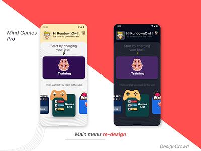Mind Games Pro main menu re-design product design minimalistic app design game re-design