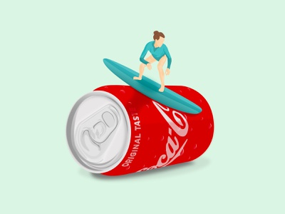 Coca-cola Surfing thirst soda wave swimming swim sunny girl summer drink surfing surf coca-cola flat design illustrator illustration flat illustration flat design adobe illustrator adobe