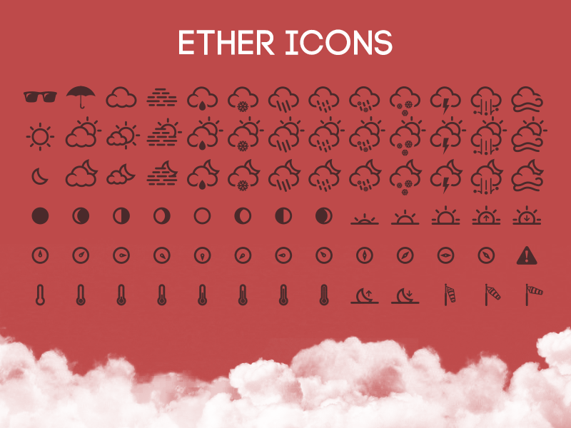 Ether Icons weather icons ether icons cloud sun cloudy sunny temperature mist wind sunglasses umbrella
