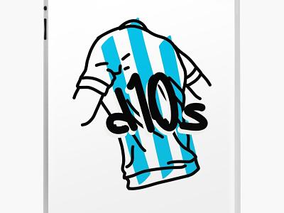 Gracias D10S digitalart vector drawing illustration soccer football futbol diego maradona diego maradona messi god d10s
