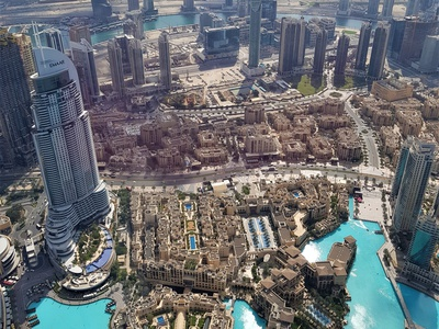 Aerial view of Dubai aerial desert skyscraper building horizon cityscape city landscape panorama uae photo photography view dubai