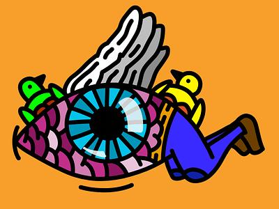 An eye that flies look colors vector digitalart illustration drawing flyer weird flying eye