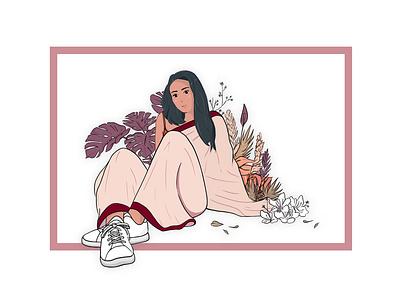 সাধারণ saree bengali lo fi illustration art