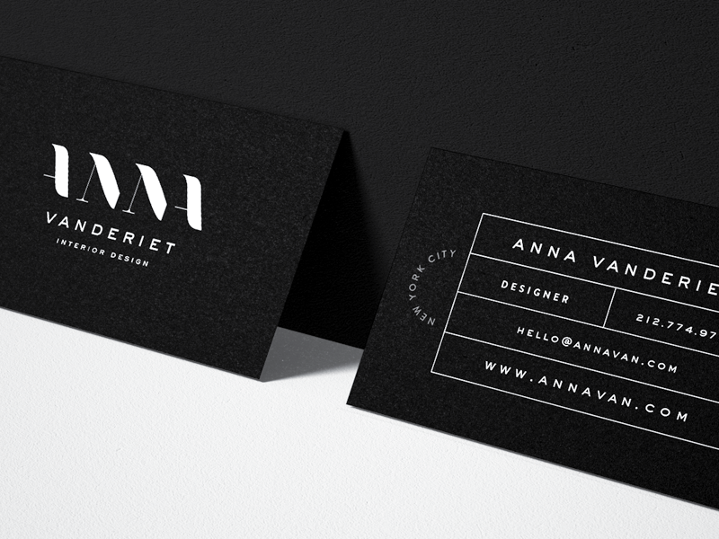 Anna vanderiet interior design business card by mel volkman dribbble for Interior designers business cards