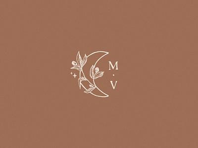 Mel Volkman Brand 3/3 stars tarot font moon illustration crescent moon flower moon floral illustration magical esoteric ethereal floral brand lettering modern custom type monogram illustration logo hand lettering typography