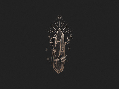 Magical Crystal Illustration by Mel Volkman mystical sacred black floral stars moon tarot witch occult crystal typography design type gold brand esoteric magical lettering illustration logo