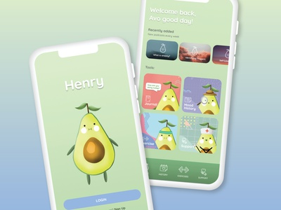 Henry Mental Health App app icon typography ux branding logo cute illustration cute avocados mental health ui design design graphic design