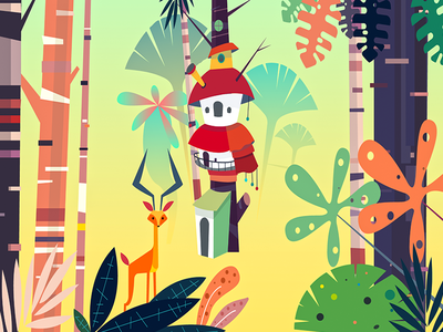Junglow-The Jungle House hello dribbble debut colors animation nature jungle illustration