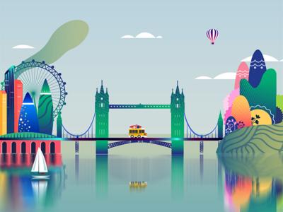 Magical London ! gaming 2d animation gif motion graphics uiux illustration magical island tower bridge london