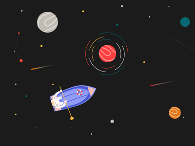 Boating on Space ! graphixstory uiux icon planet black boat astronaut illustration space