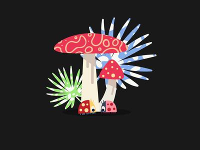 Meeting leaf mushroom magical story illustration color ladybird