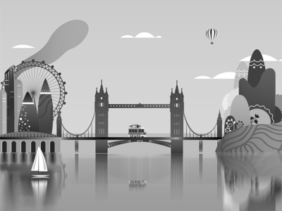 Magical London BW gaming 2d animation gif motion graphics uiux illustration magical island tower bridge london