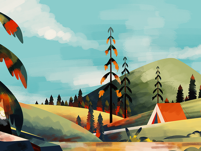 Camping animation travel sky handcrafted adventure camping mountain illustration
