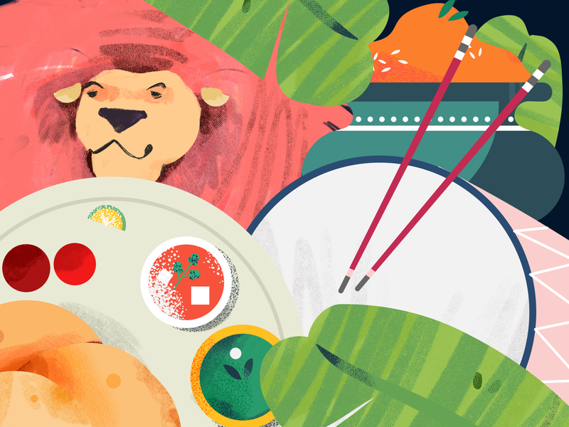 Durga Puja elements (Mass snap- Navratri for Snapchat) story 2d dribbble color digital agency navratri snapchat motion graphics animation illustration digital 2d lion dishes