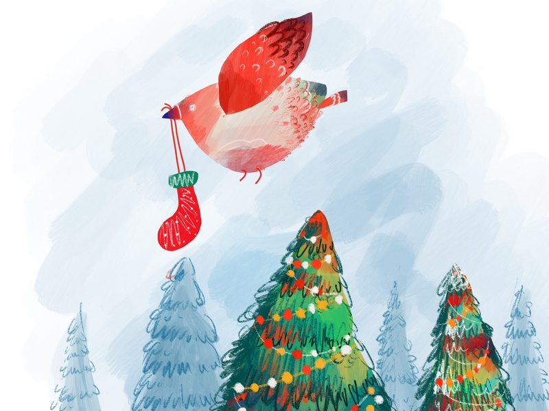 Gifts cute xmas santa claus design graphic design 2d dribbble winter color illustration bird christmas