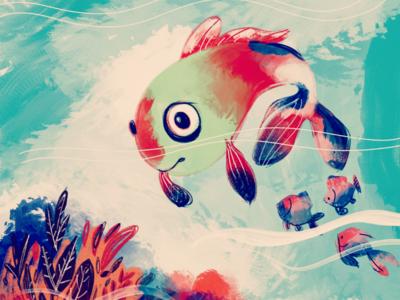 Explorer 🐠🐠 debut first shot behance nemo koi deep sea sea color procreate ipad pro illustration digital painting fish