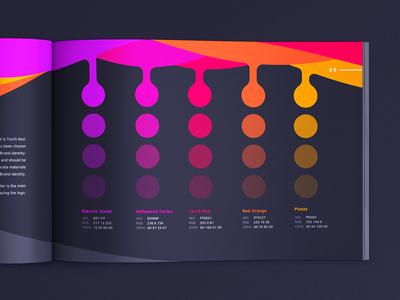 Brand Guidelines: Colors brandbook book pages palette branding gudelines manual brand colors