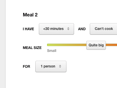 Meal 2 slider ui buttons white dropdown