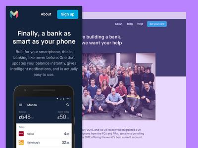 New Monzo Website monzo fintech bank website