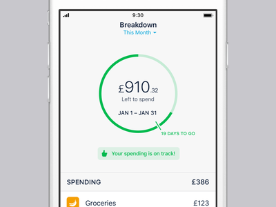 Breakdown on Monzo the good stuff breakdown spending