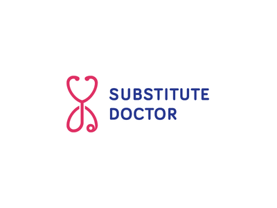 Substitute Doctor logo bariol sans hourglass love doctor simple logo