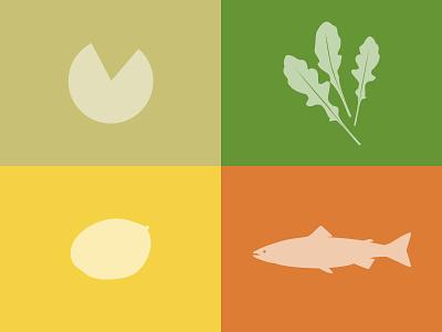 Colors experiment: salmon, mango, arugula and cheese salad colors inspiration experiment