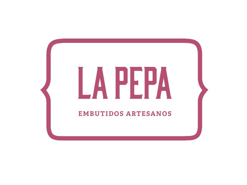 La Pepa Negative adelle serif bourbon type carnicería butcher pink logotype logo brand