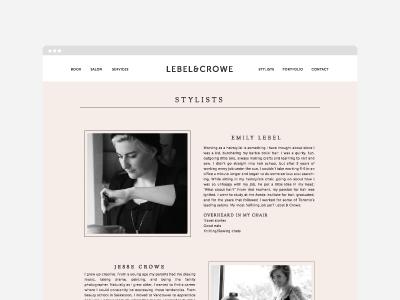 Lebel & Crowe website clean minimal lebel and crowe hairstylist salon web design website design website