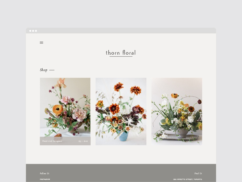 Thorn Floral web design e-commerce florist web typography layout