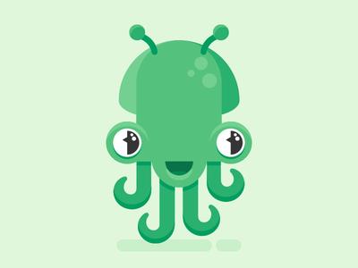 Octopus likely alien sticker space illustration flat cute design character octopus alien