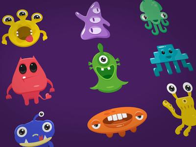 Alien invasion sticker space illustration flat characters monster creature alien