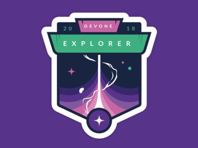 Explorer conference vector universe laser logo illustration identity space design badge icon sticker