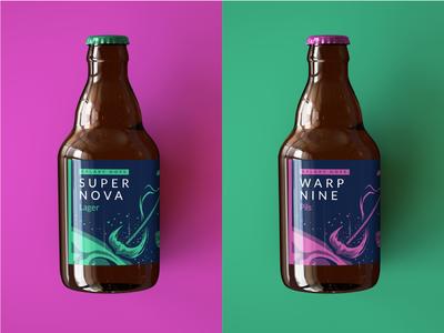 Galaxy Beer giveaway goodie conference solar storm warp super nova galaxy packaging space bottle beer label beer