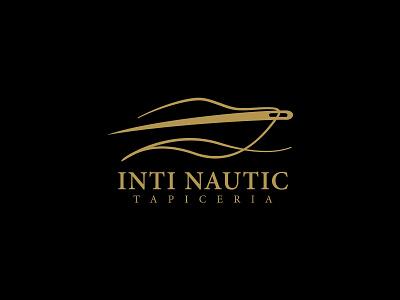 Inti Nautic Logo thread needle luxury upholsterer yacht symbol mark logo